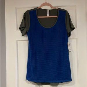 LuLaRoe olive green and blue Classic T shirt M NWT